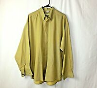 Haupt Mens Shirt Size 43 XL 17 Yellow Button Down Long Sleeve Made in Germany