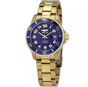 Invicta Pro Diver Quartz Blue Dial Yellow Gold-tone Men's Watch 30694