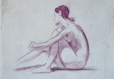 "23"" Large Vintage Drawing Sketch Study Nude Woman Posing Sitting on Paper"