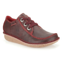 Clarks BNIB Ladies Wedge Lace-up Shoes Funny Dream Ox-Blood Leather UK 4.5