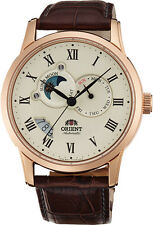 Orient FET0T001W Men's Sun and Moon Multifunction Leather Band Automatic Watch
