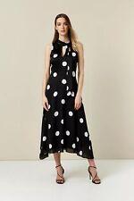 Wallis Womens Black Polka Dot Keyhole Midi Skater Dress Sleeveless