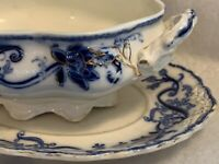 Antique Gravy Boat With Attached Under plate  Flow Blue Johnson Bros