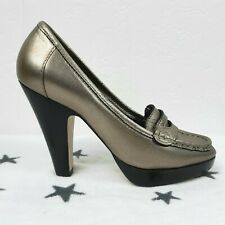 Carvela Pewter Silver Leather High Heel Shoes Size 37/4