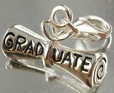 925 STERLING SILVER CLIP ON GRADUATE Scroll CHARM PENDANT