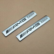 2Pcs AMG Edition Metal Chrome Logo Badge Side Fender Car Emblem Sticker Decal