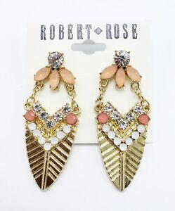 New Pair of Gold Tone Rhinestone Drop Earrings by Robert Rose #E1308