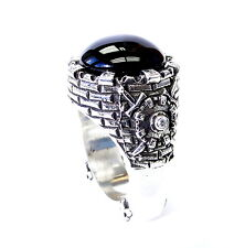 Men's Silver King's Night Watch Ring With  White Diamonds And Black Onyx Center