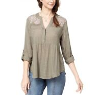 Style & Co 90$ Embroidered Roll Tab Sleeve Shirt Top Size S