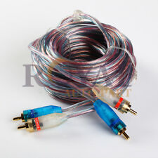 20ft Gold Plated RCA Blue Wire No Noise 2 Male To Male Stereo Video Cable
