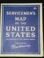 Servicemen's Map of the USA and Insignia Of The Armed Forces pub.Fred Harvey