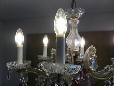 Vintage 6 LIGHT GLASS CRYSTAL French style CHANDELIER