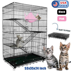 """53""""Large Folding Collapsible Pet Cat Wire Cage Indoor Outdoor Playpen Vacation"""