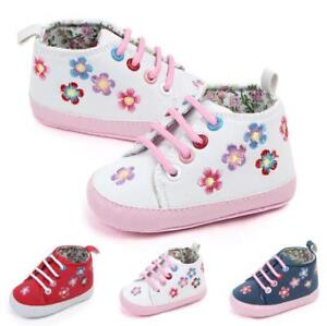 Newborn Baby Boy Girl Floral  Soft Crib Shoes Infant Pre Walking Sneakers 0-12M