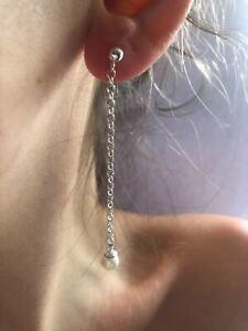 Sterling Silver Chain Dangling Earrings ~ Faux Pearl ~ Handmade