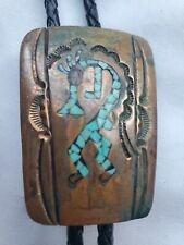 Vintage Bolo Tie Copper Native Southwest Aztec Western Turquoise Stamped C.H.