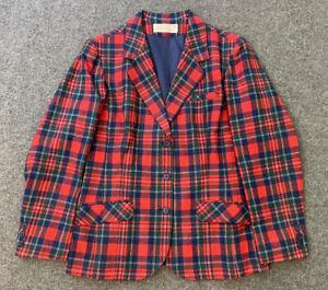 Vintage 70s Pendleton Red Plaid Wool Blazer Womens Made In USA