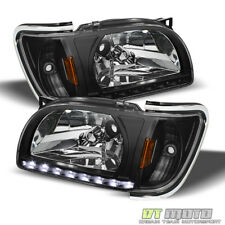 For Black 2001-2004 Toyota Tacoma DRL LED Headlights Built In Corner Lamps 01-04