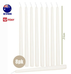 8/16/32pk Tapered Dinner Candles 25cm Tall White Unscented Taper Wedding Candle