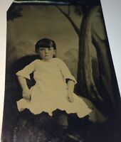 Antique Victorian American Adorable Little Girl, Gold Brooch! Tintype Photo! US!