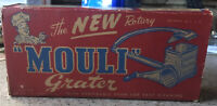 Vintage Metal Mouli Cheese Grater Red Handle in  original box. 1948