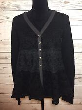 Free People FP Womens Flowy Black Lace Crochet Wool Alpaca Cardigan Sz XS Boho