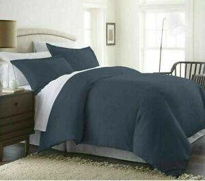 Beckham Luxury Linens FULL/QUEEN Duvet Cover Set Luxury 3 Piece NAVY BLUE ZIP