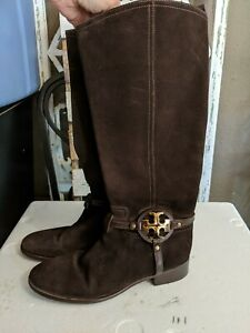 Tory Burch Brown Suede Knee High Signature Harness Zip Riding Boots Size 10.5M