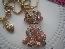 """BETSEY JOHNSON CUTE PINK CRYSTAL DOG PENDANT NECKLACE  28""""  # 391"""