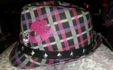 Monster High Girls Fedora Hat - costume Pink Black Plaid jewels