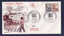 enveloppe 1er jour   anniversaire de la libération  Caen   1964