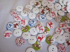 Wooden Buttons!  XMAS THEME!! Qty - 10, ASST'D DEER  **NEW**