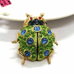 Betsey Johnson Green Rhinestone Lovely Ladybug Beetle Charm Brooch Pin Gifts
