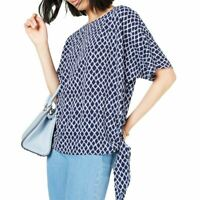 MICHAEL KORS NEW Women's Shore Blue Printed Tie-hem Blouse Shirt Top XXS TEDO