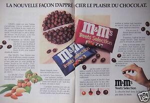 PUBLICITÉ 1990 M&M TREETS SELECTION FAÇON D'APPRECIER LE CHOCOLAT - ADVERTISING