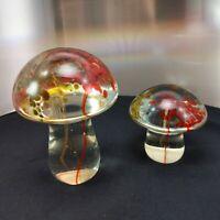 Set of 2 Red Bronze Clear Mushroom Figures Sculpture Art Pier 1 Glass Pier One