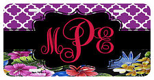 Personalized Monogrammed License Plate Auto Car Tag Floral Black Berry Violet
