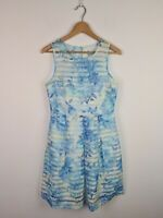 Forever New Blue Pleated Floral A-Line Dress Womens Size 10 Striped Party Frock
