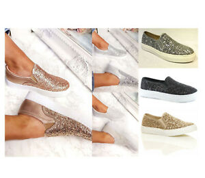 Ladies Womens Flat Slip On Glitter Summer Pumps  Canvas Trainers Shoes Size