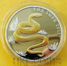 2013 Togo Lunar Year of the Snake 1 Oz Silver Proof Coin 蛇 Chinese Zodiac Gilded