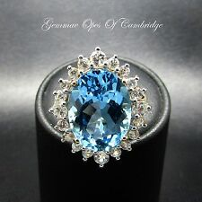 9ct Gold Oval cut Swiss Blue Topaz Cluster Ring Size N 1/2 5.2g