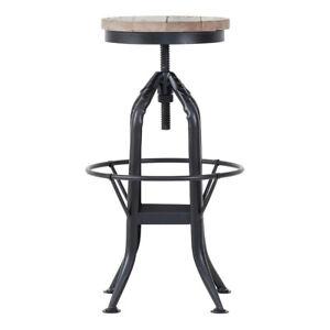 Reclaimed Wood & Metal Adjustable Height Stool