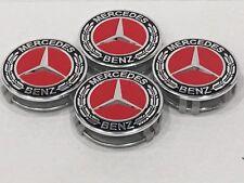4X Mercedes Benz Center Caps Black / Red Chrome 3 In/75mm Fit Model C E S (B#2)