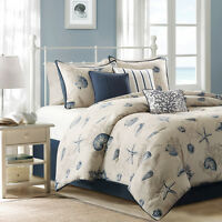 BEAUTIFUL BEACH OCEAN CORAL COAST SAND SEASHELL NAUTICAL BLUE COMFORTER SET NEW