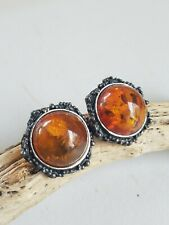 Antique Baltic Amber Sterling Silver Clip Earrings - VERY NICE!!!!!
