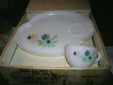 VINTAGE FEDERAL GLASS Patio SnackSet Atomic Flower 6pc.Set (3plates3cups) OS IOB