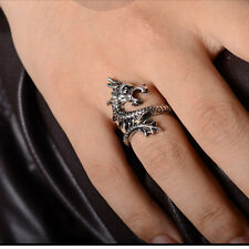 Women Men Retro Opening Rings Silvery Dragon Punk Exaggeration Ring