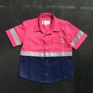 Short Sleeve Kids Hi Vis Work Shirts Pink/Navy