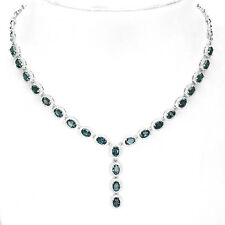 Sterling Silver 925 Genuine Natural London Blue Topaz Necklace 18 to 19.5 Inches