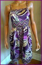 Purple Silky Sundress Dress Large Juniors FIRE LOS ANGELES Gold Geometric